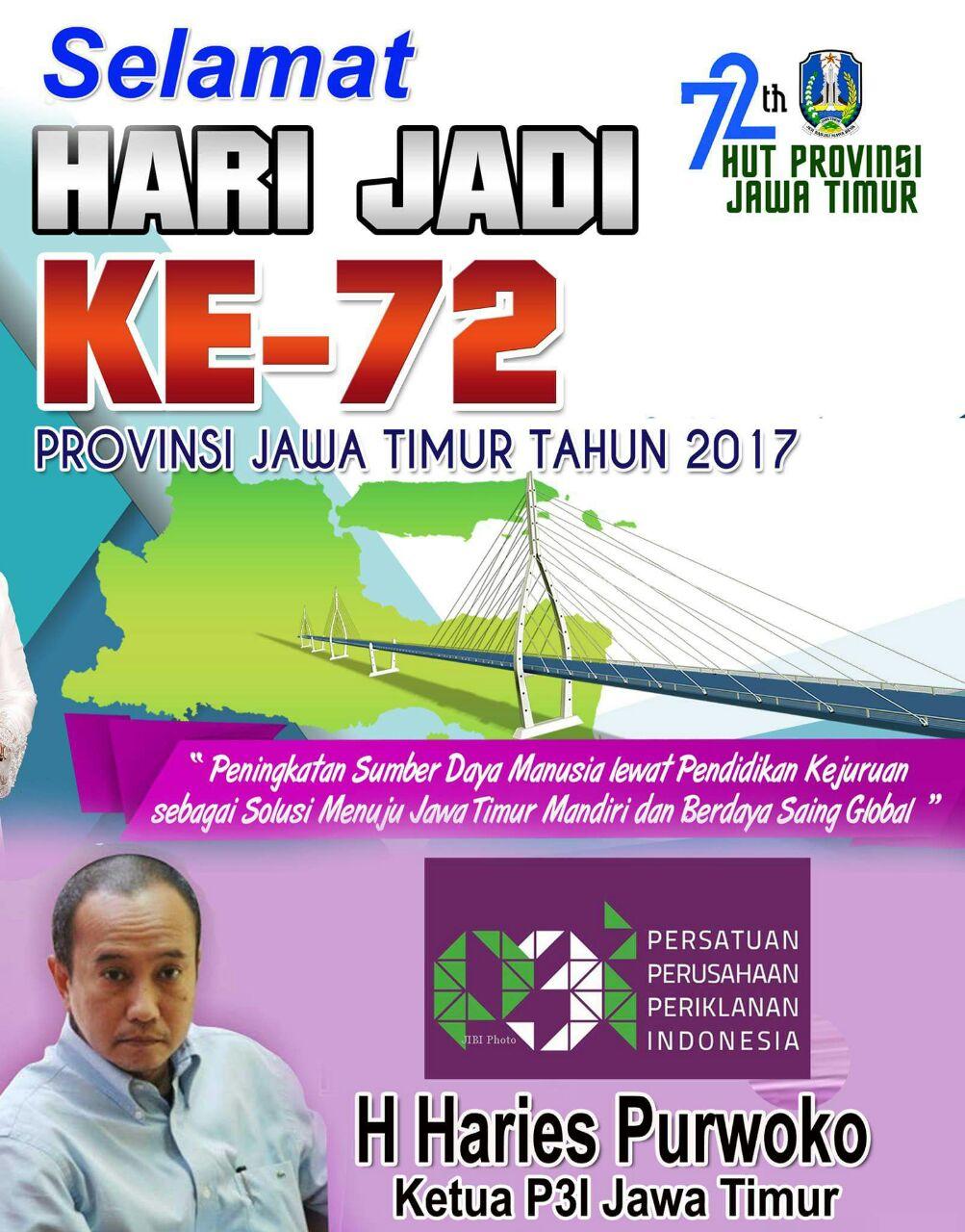 Ketua P3I Jatim Mengucapkan Selamat HUT Provinsi Jatim ke-72