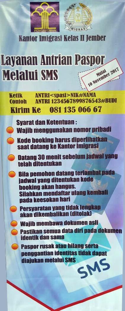Kantor Imigrasi Jember Buka Layanan Antrian Paspor Melalui SMS