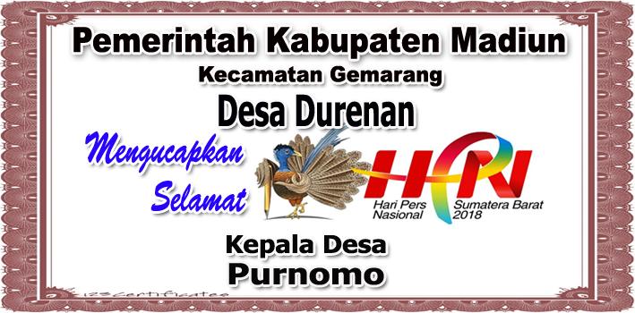 Kades Durenan Kabupaten Madiun Mengucapkan Selamat Hari Pers Nasional 2018