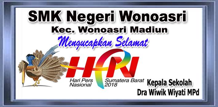 Kepala SMK Negeri Wonosari Mengucapkan Selamat Hari Pers Nasional 2018