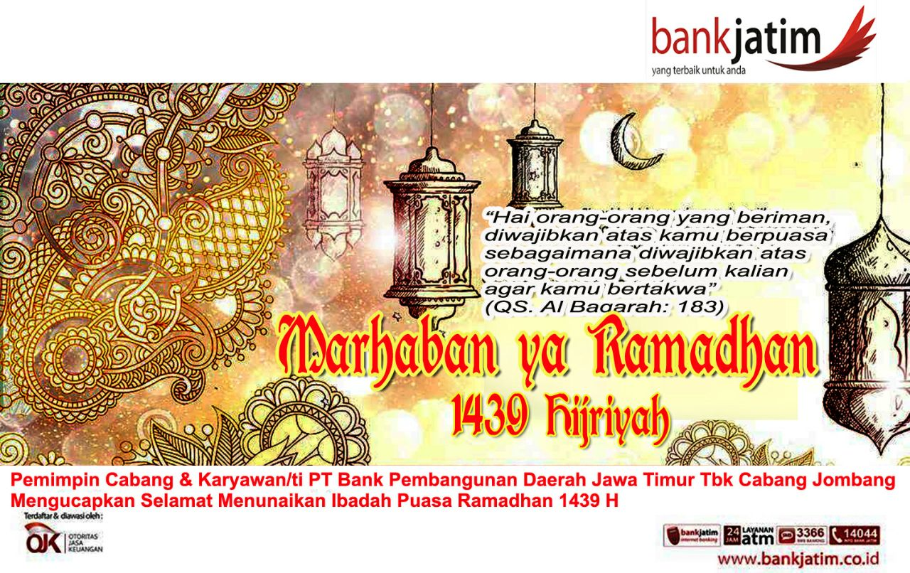 Bank Jatim Cabang Jombang Mengucapkan Marhaban Ya Ramadhan 1439 H
