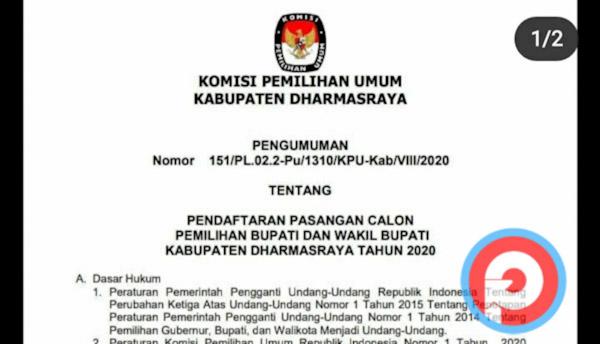 Kpu Dharmasraya Umumkan Tahapan Pendaftaran Calon Bupati Dan Wakil Petisi Co